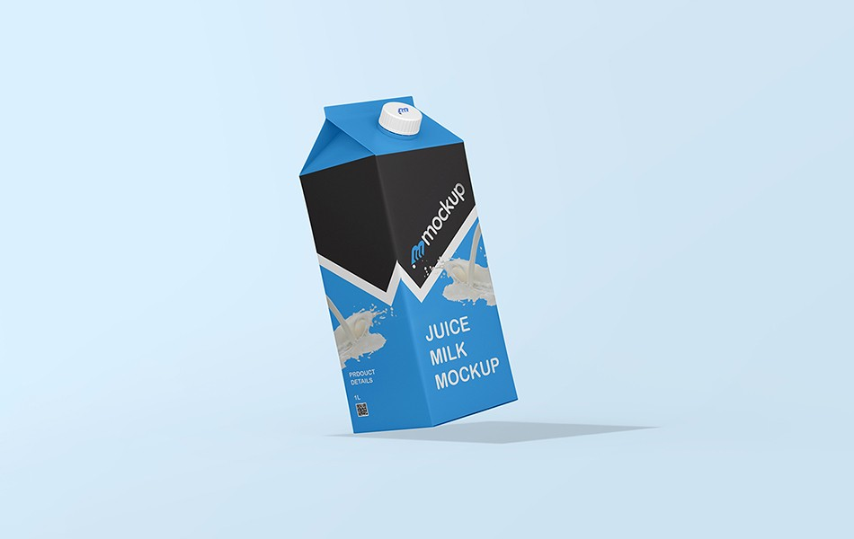 Free Side View Milk Packaging Mockup