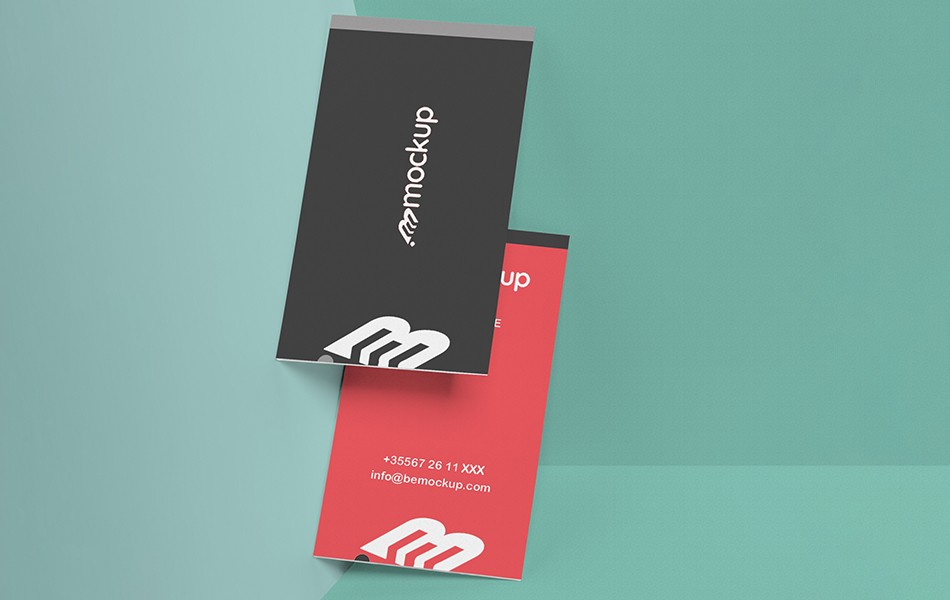 Attractive Vertical Business Card Mockup