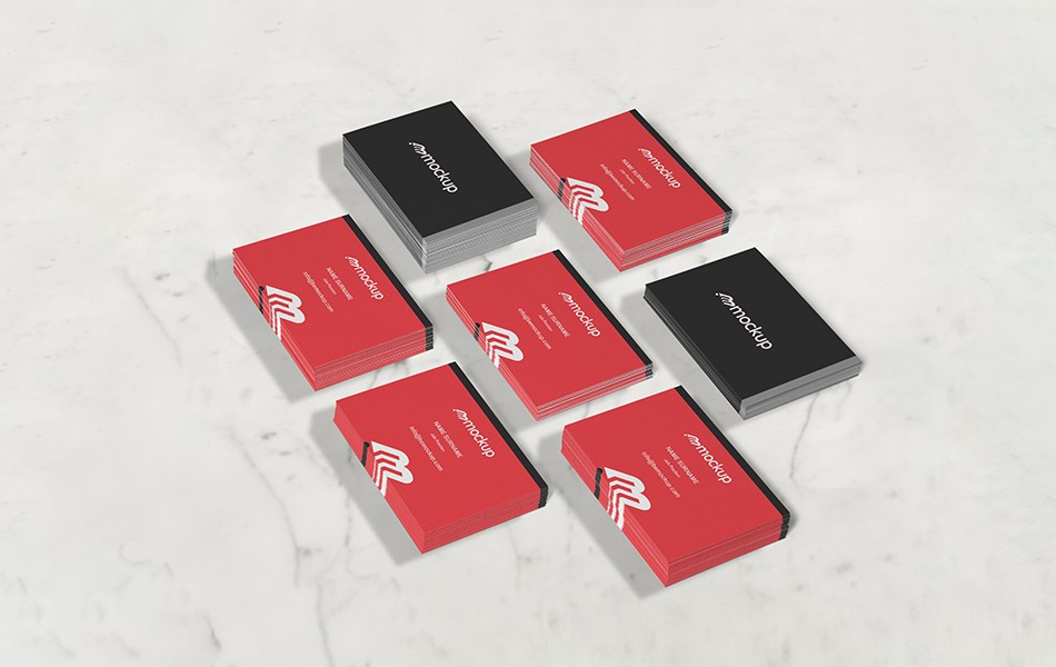 Perspective Business Card Collection Mockup