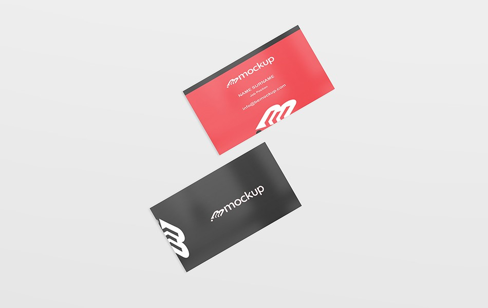 Simple Top View Business Card Mockup