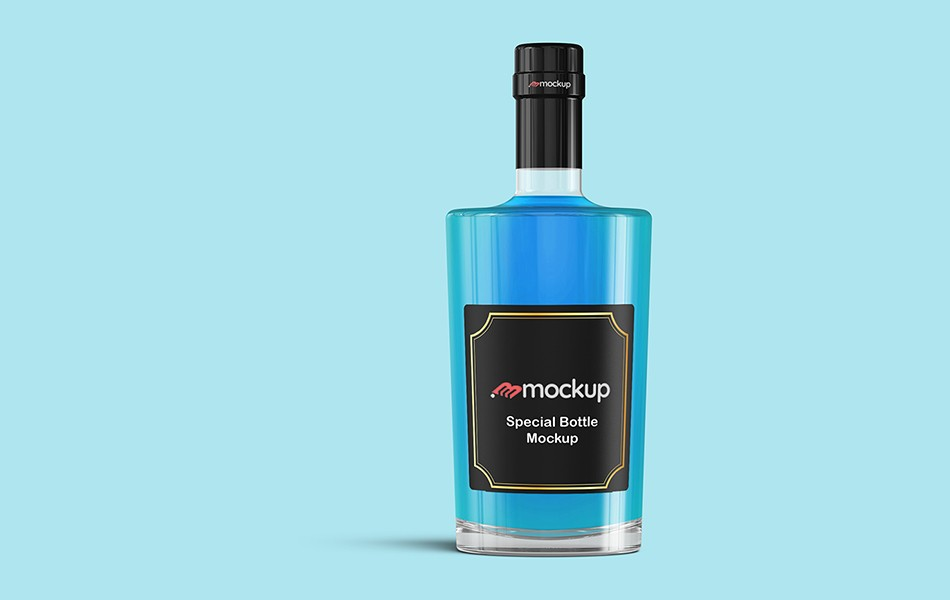 Special Blue Bottle Wine Mockup